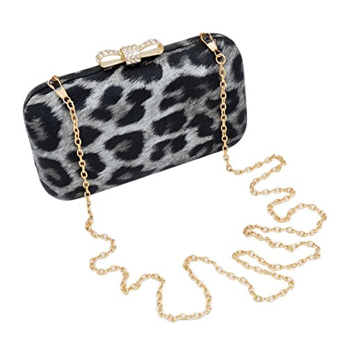 Elegant Leopard PU Leather Crystal Bow Top Hard Clutch, Grey by TrendsBlue (Image #3)