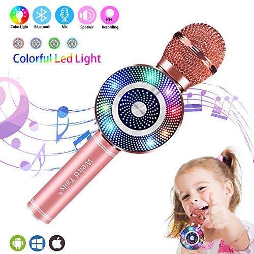 Weird Tails Wireless Bluetooth Karaoke Microphone,5-in-1 Portable Handheld karaoke Mic gifts for men women Home Party Birthday Speaker Machine for iPhone/Android/iPad/Sony, PC All Smartphone(rose)
