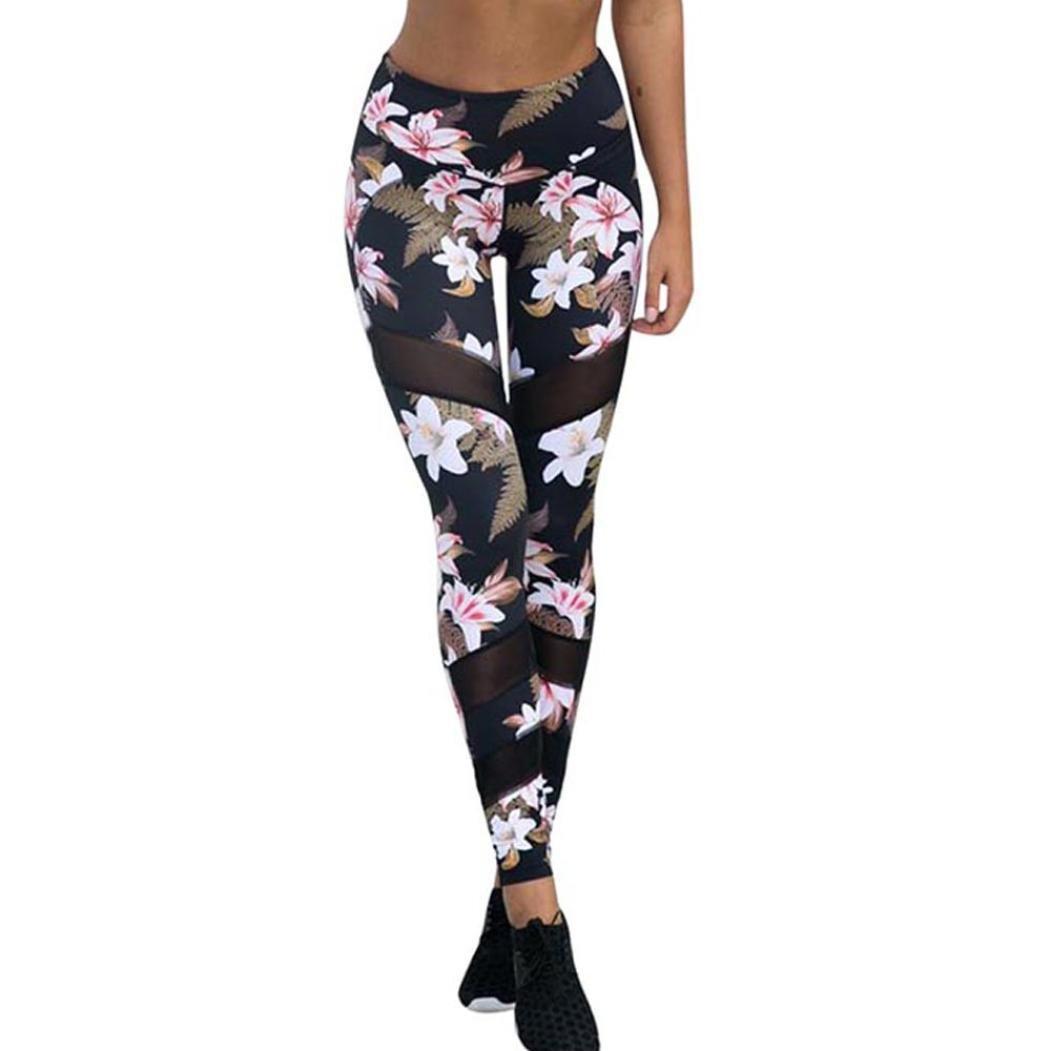 Sumen Women High Waist Workout Legging Floral Mesh Yoga Running Athletic Pants