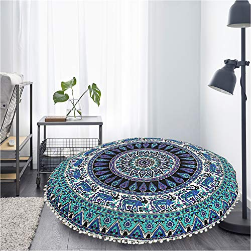 - Gokul Handloom Elephant and Peacock Designs Large Round Pillow Cover Decorative Mandala Pillow Sham Indian Bohemian Ottoman Poufs Cover Pom Pom Pillow Cases Outdoor Cushion Cover (Xmas Reindeer)