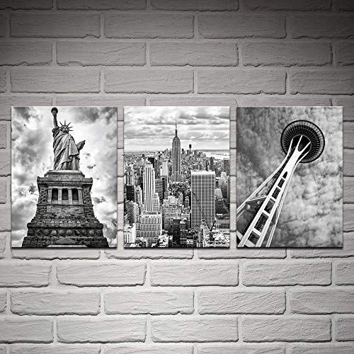 Biuteawal- 3 Piece Canvas Wall Art Black and White Empire State Building Seattle Space Needle Statue of Liberty Picture Canvas Print Modern Home Decor City Dramatic Cloudy Sky Landscape Poster]()