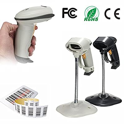 dipshop Automatic Barcode Scanner USB Laser Scan Bar Code Reader With Stand Handheld POS ( Black )