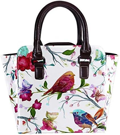 Sac à main avec poignée supérieure - Sac à main en cuir - Pour femme - Avec motif oiseau papillon et feuille de fleurs - Sac à main