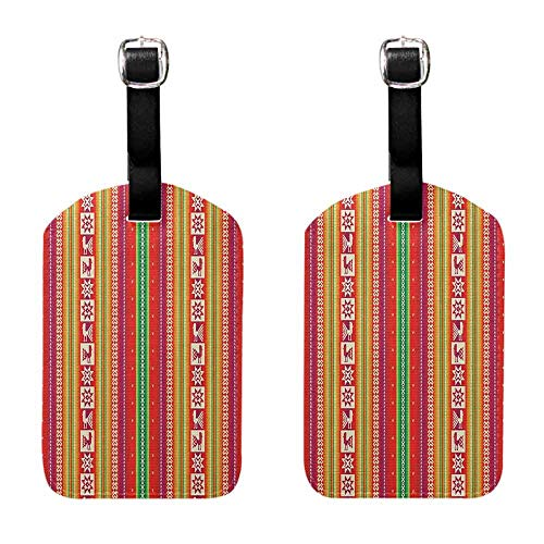 Instrument Tag Native American,South American Star Animal Motifs Vermilion and Lime Green Stripes, Goldenrod Fuchsia Getaway Luggage Tag