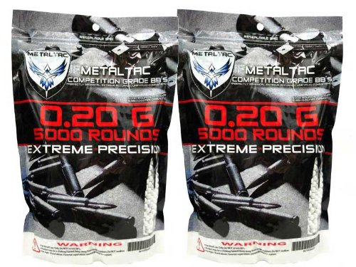 (MetalTac 0.2g BB 10,000 Round Bag Airsoft 6mm BB Perfect)