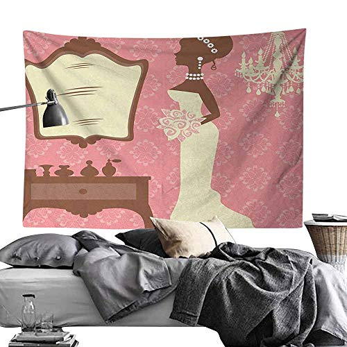 Modern Tapestry, Bridal Shower,Wedding Dress with Flowers and Vanity Swirl Backdrop Celebration,Coral Brown and White Tapestries for Bedroom Living Room Dorm Party Decor50 - Handle Raven Vanity