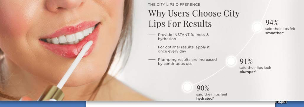 City Lips Advanced Formula - Acheive Fuller, Younger, Lips with Less Lines and Wrinkles Without Injections