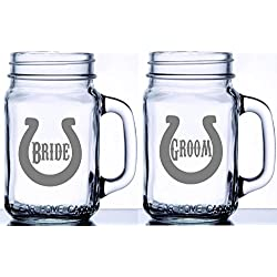 Bride and Groom Set of 2 Mason Jar Mugs Professionally Etched with Horseshoes