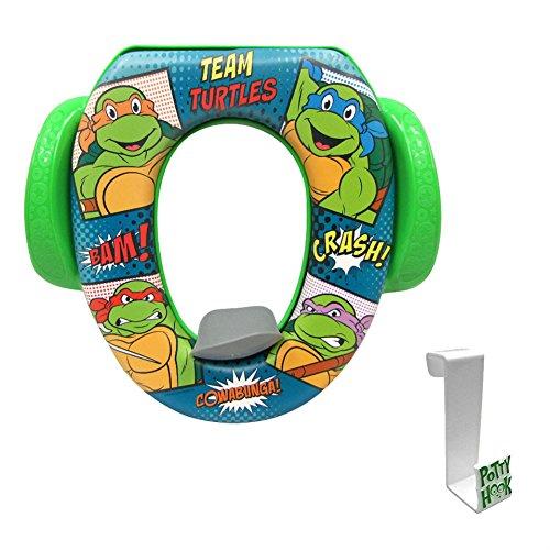 TMNT Teenage Mutant Ninja Turtles Soft Potty Seat with Toilet Tank Potty Hook (Ninja Potty Seat)