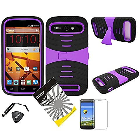 4 items Combo: ITUFFY(TM) LCD Screen Protector Film + Stylus Pen + Case Opener + 2 tone Dual Layer KickStand Tuff Impact Armor Hybrid Soft Silicone Cover Hard Snap On Plastic Case for ZTE Warp Sync N9515 (Boost Mobile) (UCase / Black - (Zte Warp Sync Rubber Phone Case)