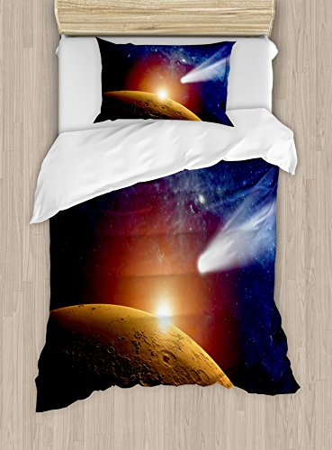 Outer Space Decor Duvet Cover Set by Ambesonne, Comet Tail Approaching Planet Mars Fantastic Star Cosmos Dark Solar System Scenery, 2 Piece Bedding Set with Pillow Sham, Twin / Twin XL, Bue Orange by Ambesonne