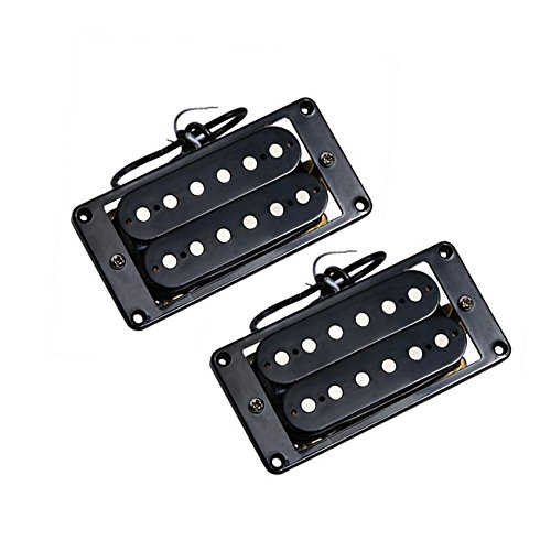 Humbucker Cover Set - Electric Guitar Humbucker Pickup Bridge and Neck Set Double Coil Black