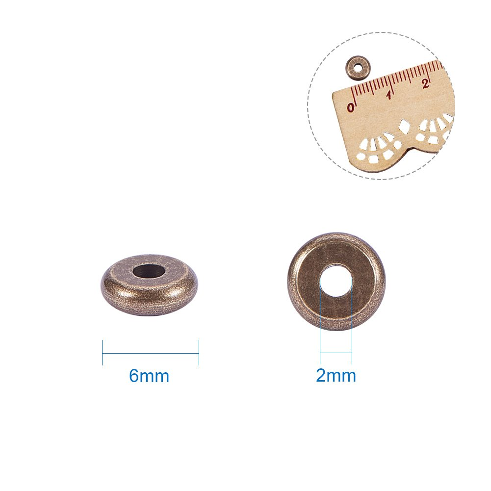 Hole PandaHall Elite 300 Pcs 6 Colors Brass Flat Round Barrel Plating Spacer Bead for DIY Jewelry Making Findings 6x2mm 2mm
