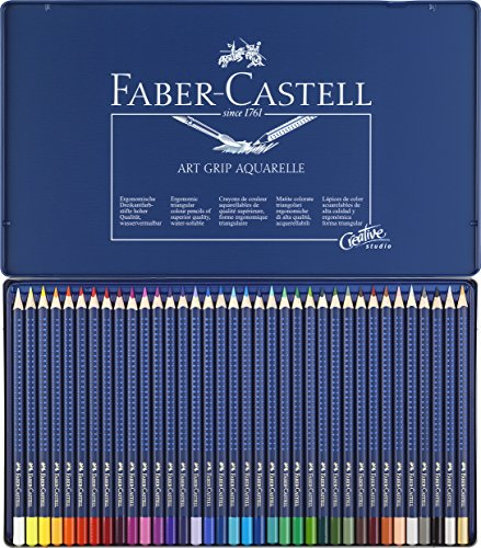 Faber-Castell Art GRIP Aquarelle Watercolor Pencils, tin of 36