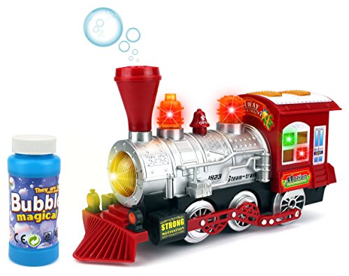 First Note Train Whistle - Velocity Toys Steam Train Locomotive Engine Car Bubble Blowing Bump & Go Battery Operated Toy Train w/ Lights & Sounds