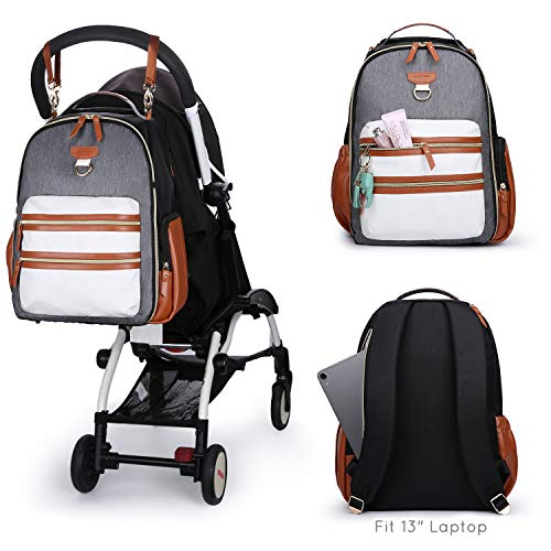 mommore Diaper Bag Backpack Wash-Free Baby Nappy Bag, Brown