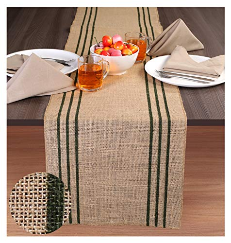 - Ramanta Home 2-Pack Rustic Farmhouse Stripe Burlap Jute Table Runners 14x90 Natural with Hunter Green Stripe