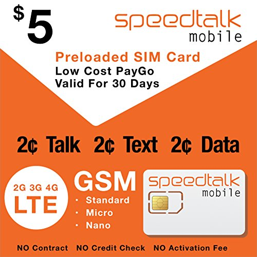 Speedtalk Mobile Prepaid Sim Card Preloaded With 1St Month Service No Contract   5