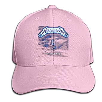 Men's Hats Metallica- Ride Lightning Pink Flat Bill Style Cap