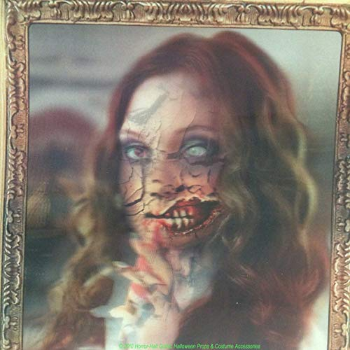 Scary ZOMBIE GIRL LENTICULAR PICTURE PORTRAIT Halloween Haunted House Decoration -