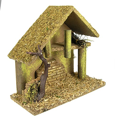 Nativity Creche - Nativity Stable Covered with Moss and Wood Chips - Wooden Creche by Banberry Designs (Image #1)