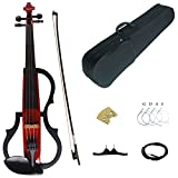 Kinglos 4/4 Red Colored Solid Wood Advanced 3-Band-EQ Electric / Silent Violin Kit with Ebony Fittings Full Size (SDDS1803)