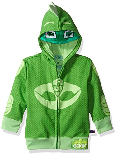 PJ Masks Boys' Toddler Gekko and Catboy Hoodie, Green 3T ()