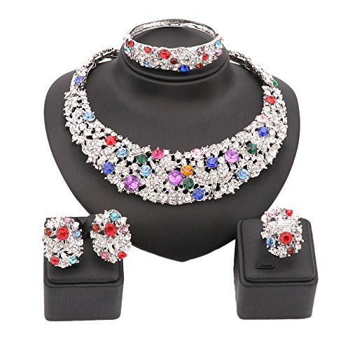 18K Gold Plated Shinning Colorful Rhinestone Crystal Necklace Earrings Bangle Ring Jewelry Sets (Silver)
