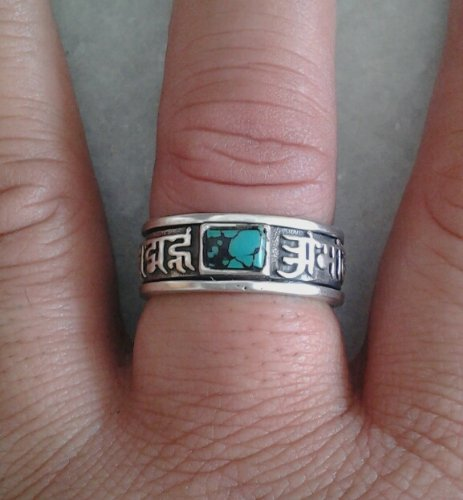 "Tibetan Buddhist ""OM MANI PADME HUM"" Mantra Prayer ~ 925 Sterling Silver Sterling Spin Ring (Sizes 7,8,9,10)"