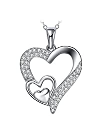 ZHULERY 925 Sterling Silver Women Girl Heart Necklace and 12mm Flower Simple Stud Earrings with Cubic Zirconia
