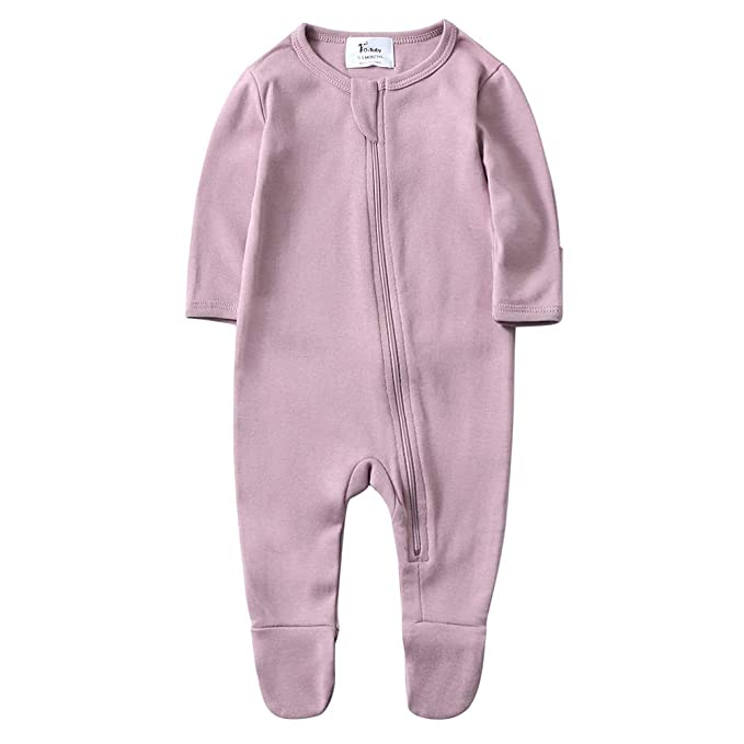 O2Baby Baby Boys Girls Organic Cotton Zip Front Sleeper Pajamas, Footed Sleep 'n Play(6-12Months,Mauve Orchid)best infant pajamas