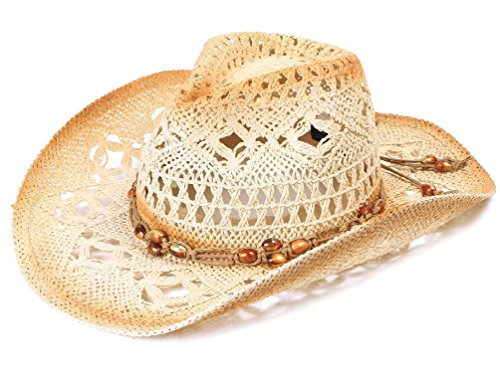 Womens Sexy Cowboy Straw Hat Cap Brim Crochet Hat W/ Beaded Strap