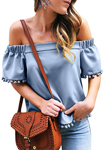 (Shawhuwa Girls Clothing Summer Fashion Off Shoulder Casual Blouse Tops Blue S)