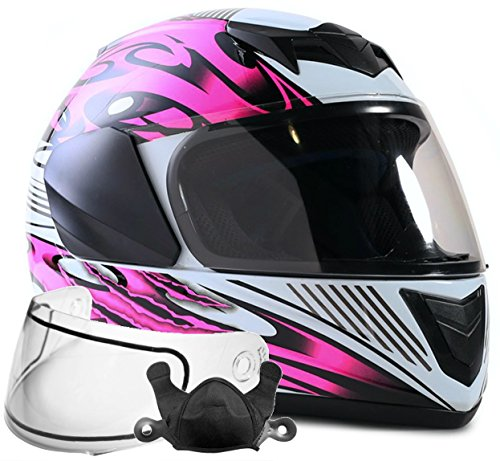 Typhoon Helmets Youth Kids Full Face Snowmobile Helmet DOT Dual Lens Snow Boys Girls - Pink (Small) -