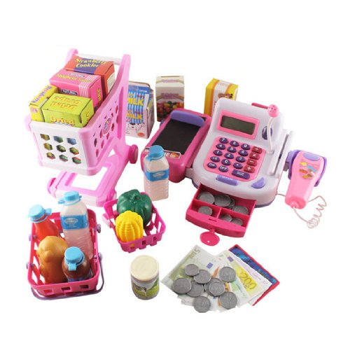 Kinder Kasse mit Accessoires und Einkaufswagen