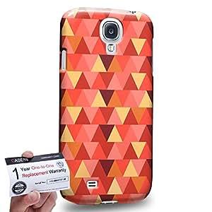 Case88 [Samsung Galaxy S4] 3D impresa Carcasa/Funda dura para & Tarjeta de garantía - Art Fashion Vermilion Geometric Aztec Camo