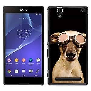 EJOY---Cubierta de la caja de protección para la piel dura ** Sony Xperia T2 Ultra ** --Piloto perro Goober Arte lindo de fotos