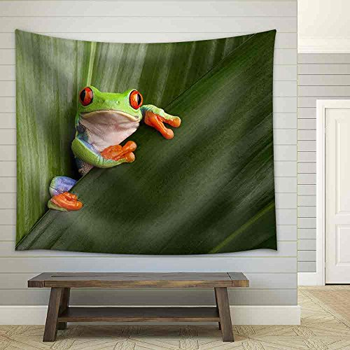 Curious Red Eyed Tree Frog Hiding in Green Background Leaves Fabric Wall Tapestry