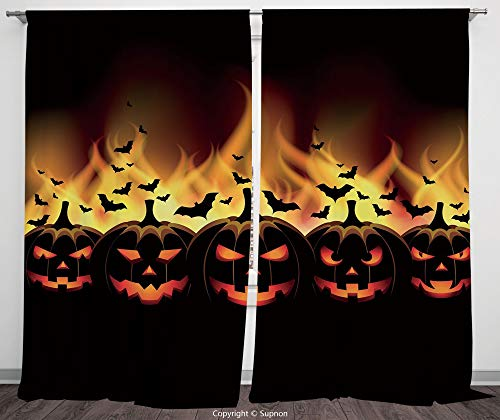 Rod Pocket Curtain Panel Polyester Translucent Curtains for Bedroom Living Room Dorm Kitchen Cafe/2 Curtain Panels/55 x 45 Inch/Vintage Halloween,Happy Halloween Image with Jack o Lanterns on Fire wit -