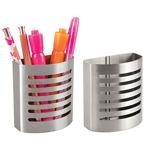 (InterDesign Forma Magnetic Modern Pen and Pencil Holder, Metal Writing Utensil Storage Organizer for Kitchen, Locker, Home, or Office, Set of 2, Stainless Steel)