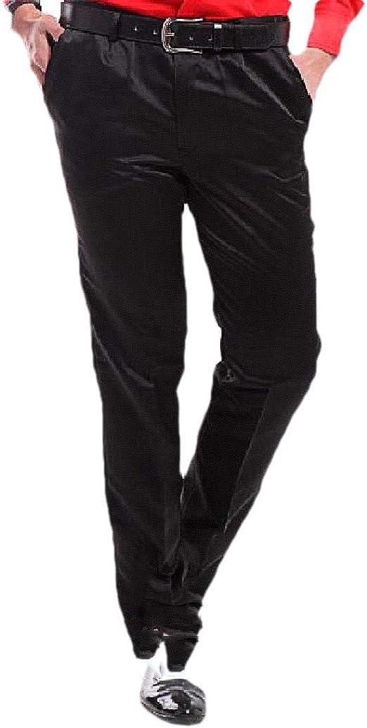 Romancly メンズプラスサイズピュアカラーノンアイアンフォーマルカジュアルプレーンフロントドレスパンツ