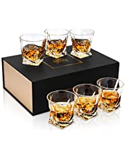 KANARS Crystal Whisky Glass, Lead Free Whiskey Tumblers Glass, Set of 6, 300ml, Luxury Gift Box