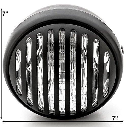 BobberCycle Custom 7'' Matte-Black Round Finned Grill Bobber Headlight