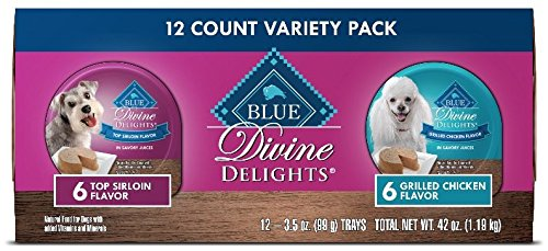 Grilled Strips Natural All Chicken (Blue Divine Delights Adult Small Breed Variety Pack Top Sirloin Flavor in Savory Juice and Grilled Chicken Flavor in Savory Juice Wet Dog Food 3.5-oz (Pack of 12))