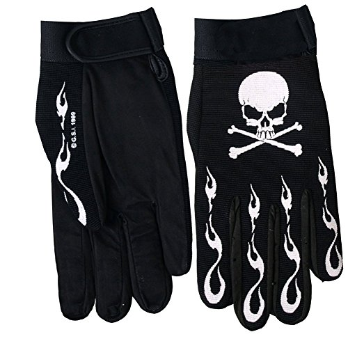 Textile Motorcycle Mechanic Gloves Skull & Crossbones With Flames XL