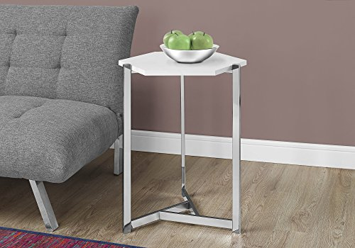 Monarch Specialties I 3275 Hexagon/Glossy/Chrome Metal Accent Table, 24.00 x 18.00 x 21.00, White