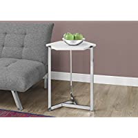 Monarch Specialties I 3275 Hexagon/Glossy White/Chrome Metal Accent Table