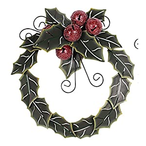 Home Accent Green Metal Holiday Holly Leaves with Red Jingle Bells Metal Wreath Christmas Door Wreath Decor 23