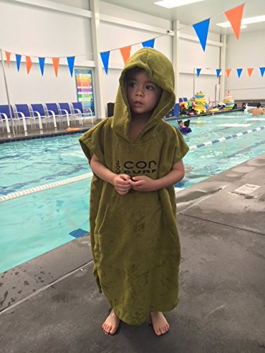 COR Board Racks Kids Towel Poncho - Light, Soft and Dries Fast | fits Ages 3-10 (Green) by Cor Surf by COR Board Racks (Image #1)