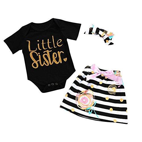 Apparel Layette (Boomboom Baby Summer Jumsuits, 2018 Letter Romper Shirts+Skirt+Headband Sets For Newborn Baby Girls (3M, Black))